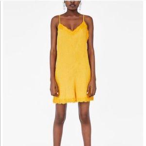 Zara Mustard Yellow Romper with Lace Trim